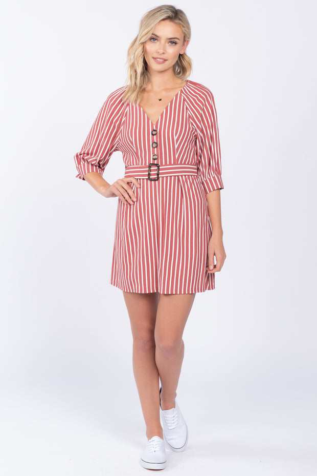 DRIFT AWAY DUSTY ROSE BELTED MINI DRESS