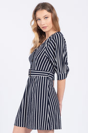 DRIFT AWAY NAVY BELTED MINI DRESS