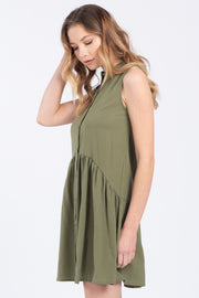 HANG LOOSE OLIVE LINEN MINI DRESS