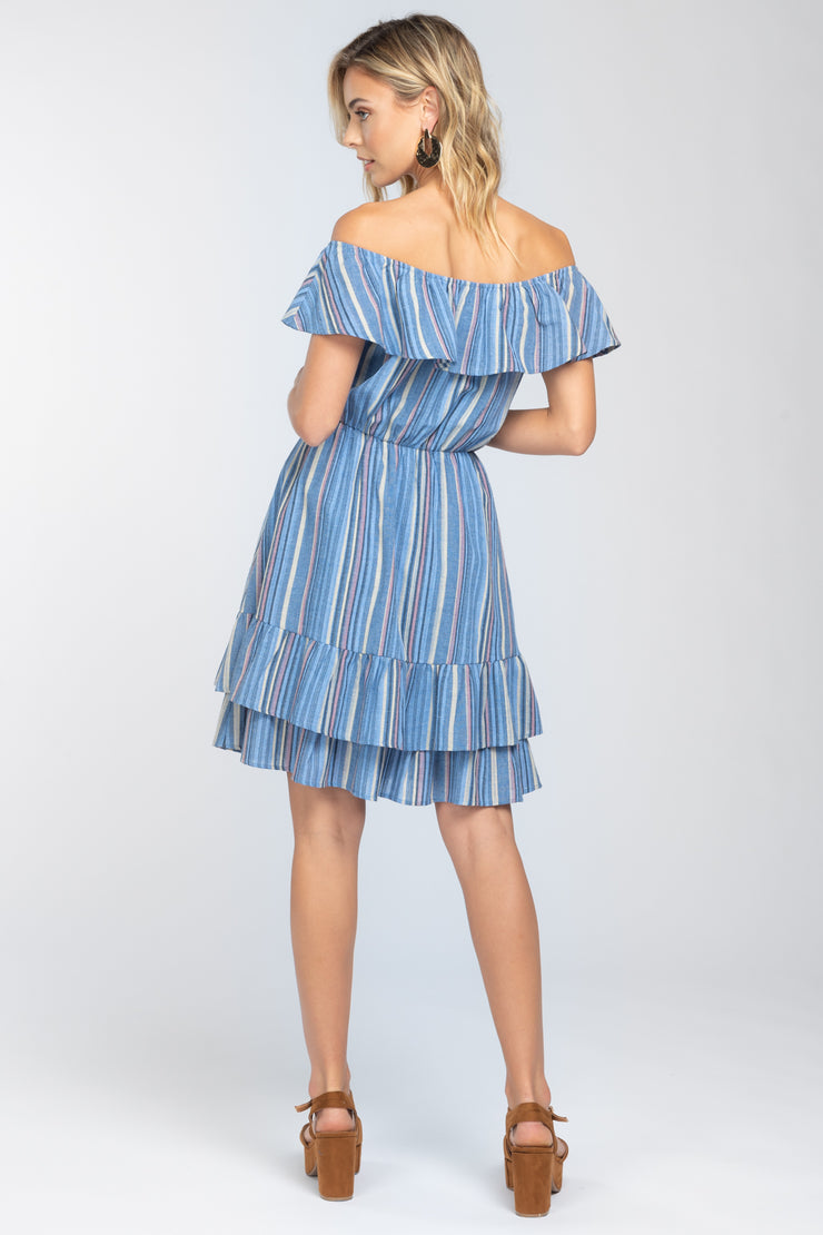 CHARMING LOVE BLUE RUFFLE OFF SHOULDER DRESS