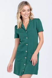 GO FIGURE FOREST BUTTON DOWN LINEN MINI DRESS