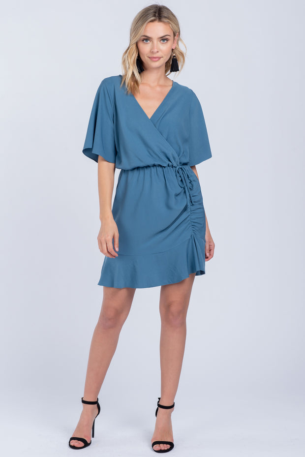 WRAPPED IN LOVE TEAL RUCHED MINI DRESS