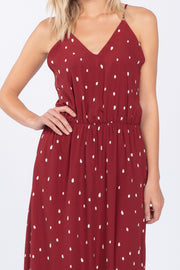 YOU'RE MY SWEETHEART BURGUNDY V-NECK MAXI DRESS