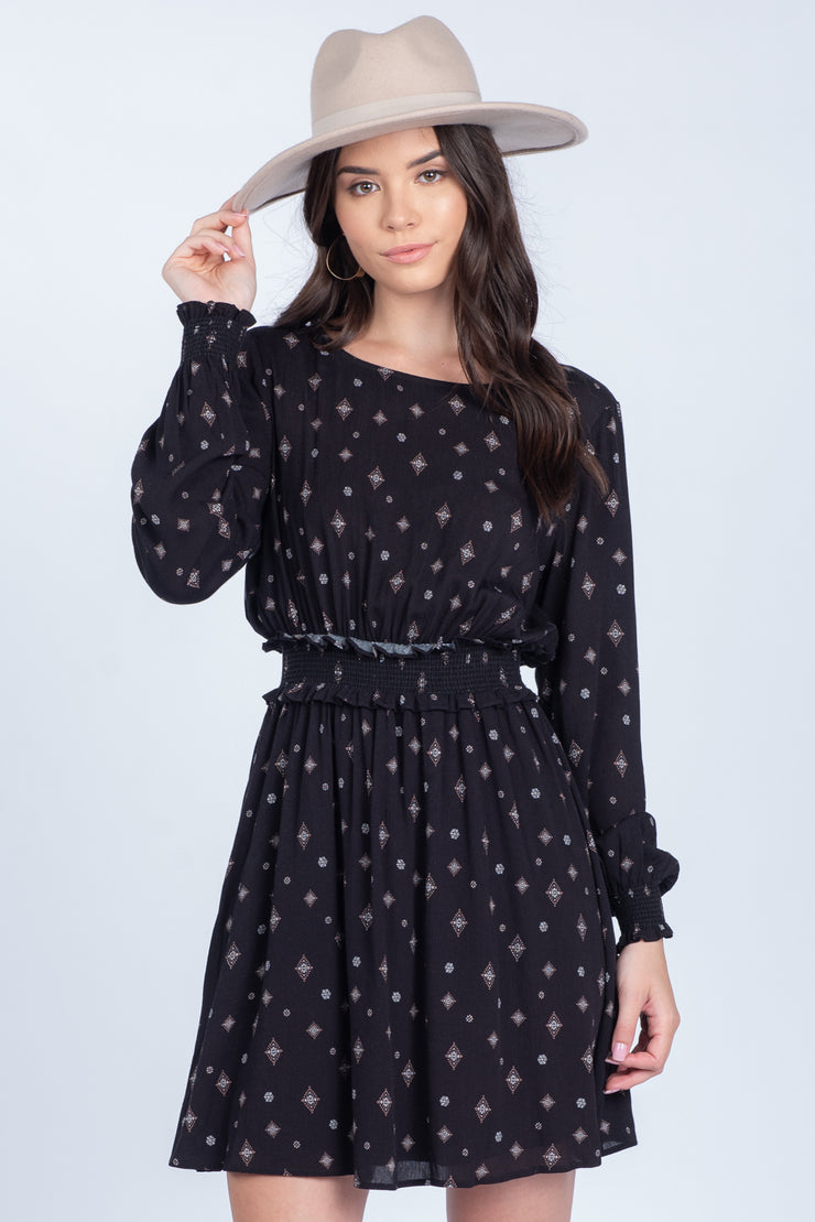 STARS IN THE SKY SMOCKED BLACK DRESS