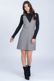 PLAID TO MEET YOU BLACK AND WHITE MINI DRESS