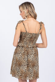 FREE SPIRIT LEOPARD SMOCKED DRESS