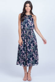 SPREAD YOUR SHINE NAVY FLORAL MIDI DRESS