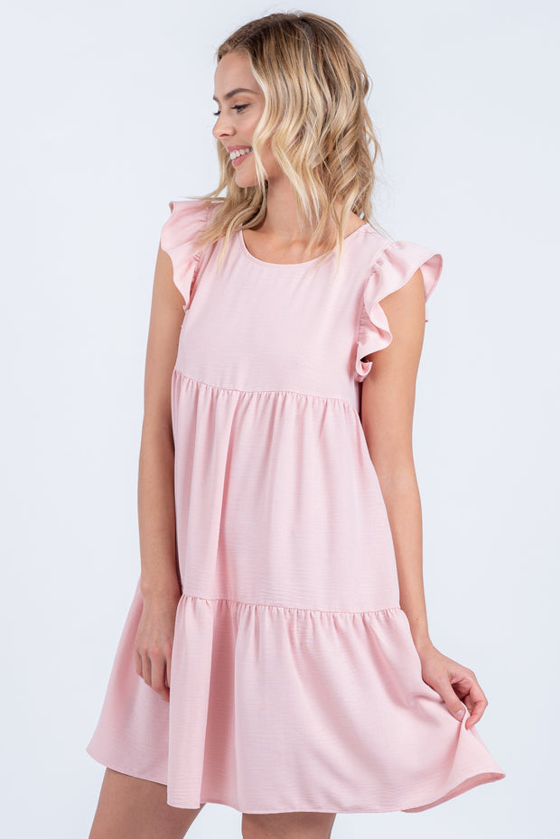 SWEET SPRING PINK RUFFLE MINI DRESS