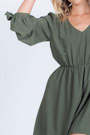 WORK TO PLAY OLIVE LONG SLEEVE MINI DRESS