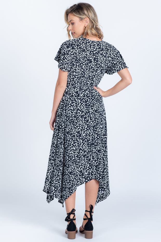 SPOTTED IN STYLE BLACK SHORT SLEEVE MIDI WRAP DRESS