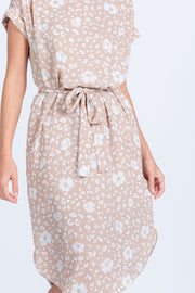 PERFECT TIMING TAUPE LEOPARD FLORAL MIDI DRESS