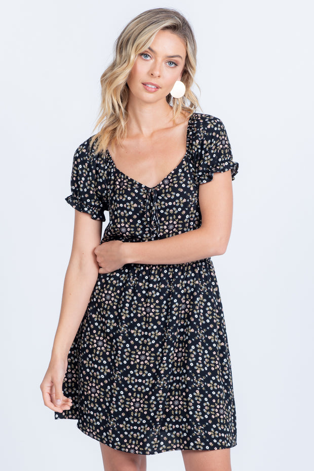 IN THE MEADOWS BLACK DITSY FLORAL MINI DRESS