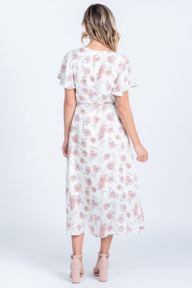 IN BLOOM IVORY FLORAL WRAP MIDI DRESS