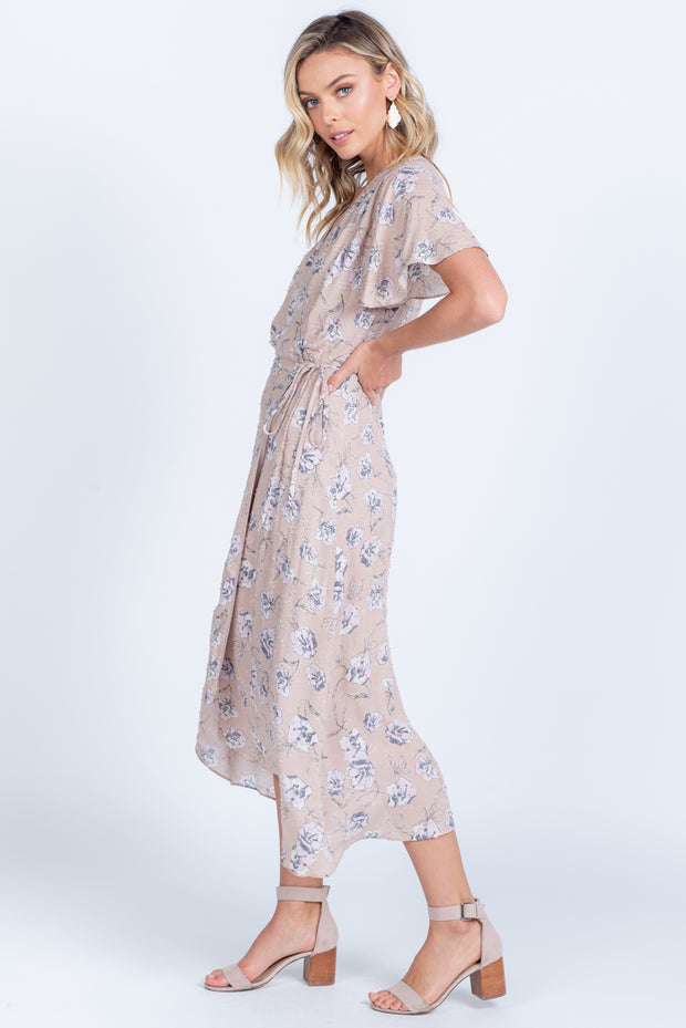 IN BLOOM MAUVE FLORAL WRAP MIDI DRESS