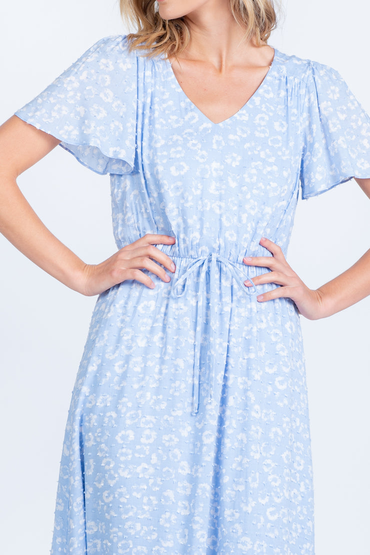 TAKE A CHANCE SKY BLUE FLORAL PRINT MAXI DRESS