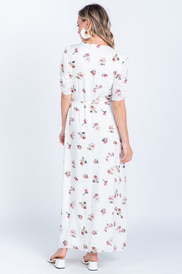 BELIEVE IN YOURSELF IVORY FLORAL PRINT MIDI WRAP DRESS