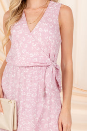 YOURS TRULY MAUVE FLORAL SWISS DOT MINI DRESS