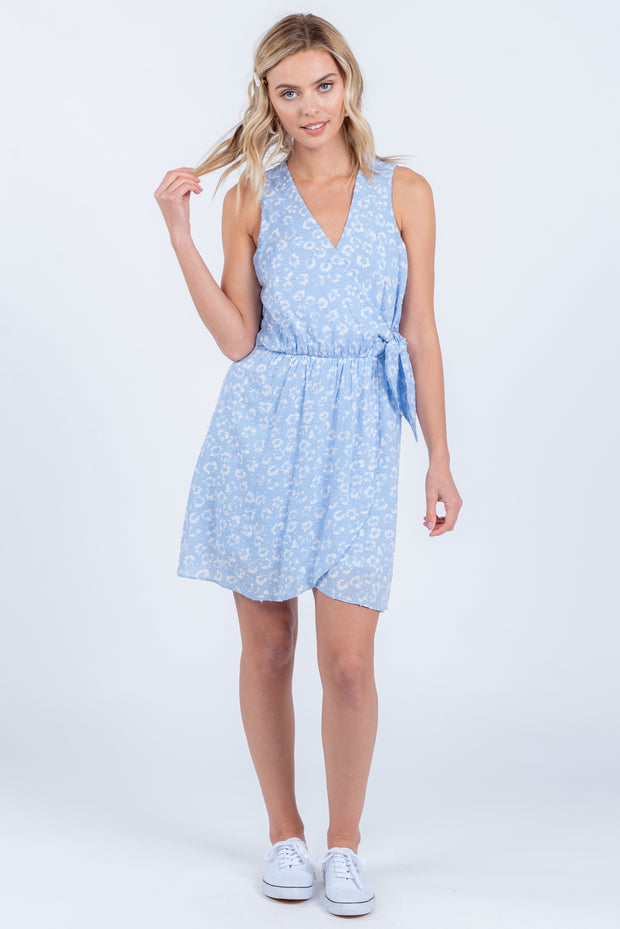 YOURS TRULY SKY BLUE FLORAL SWISS DOT MINI DRESS