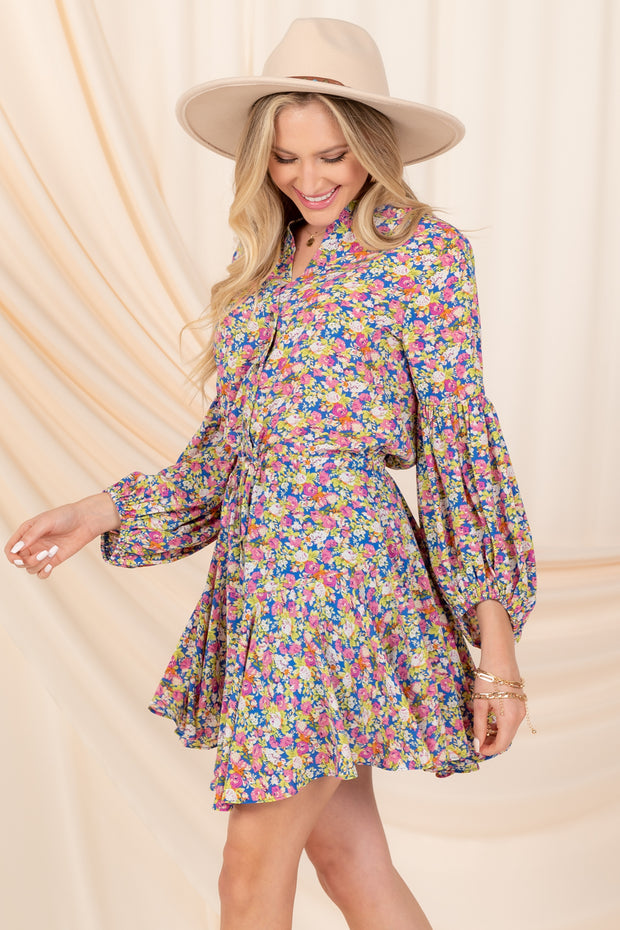 WITH FLAIR PUFF SLEEVE FLORAL MINI DRESS