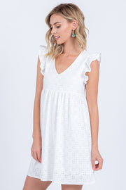 Pretty Please Ivory Eyelet Mini Dress