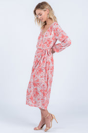 LOVING YOU CORAL FLORAL WRAP MIDI DRESS