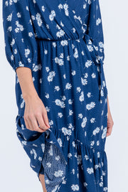 VERA NAVY FLORAL MIDI DRESS
