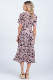 SEEING SPOTS MAUVE WRAP DRESS