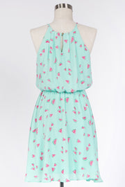 SWEET AS CAN BE PLEATED HIGH NECK DRESS