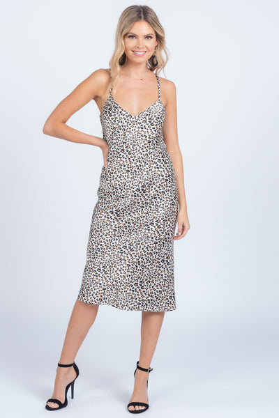 BOLD LIKE ME LEOPARD SATIN MIDI DRESS
