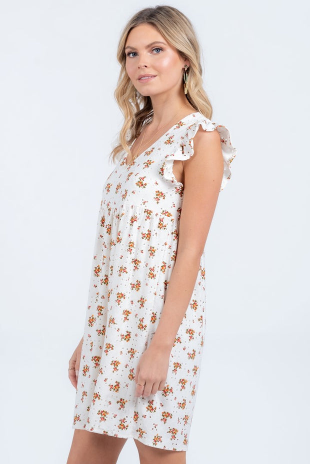 DEAREST LOVE IVORY EYELET MINI DRESS