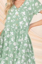 PICNIC PERFECT FLORAL BABYDOLL DRESS