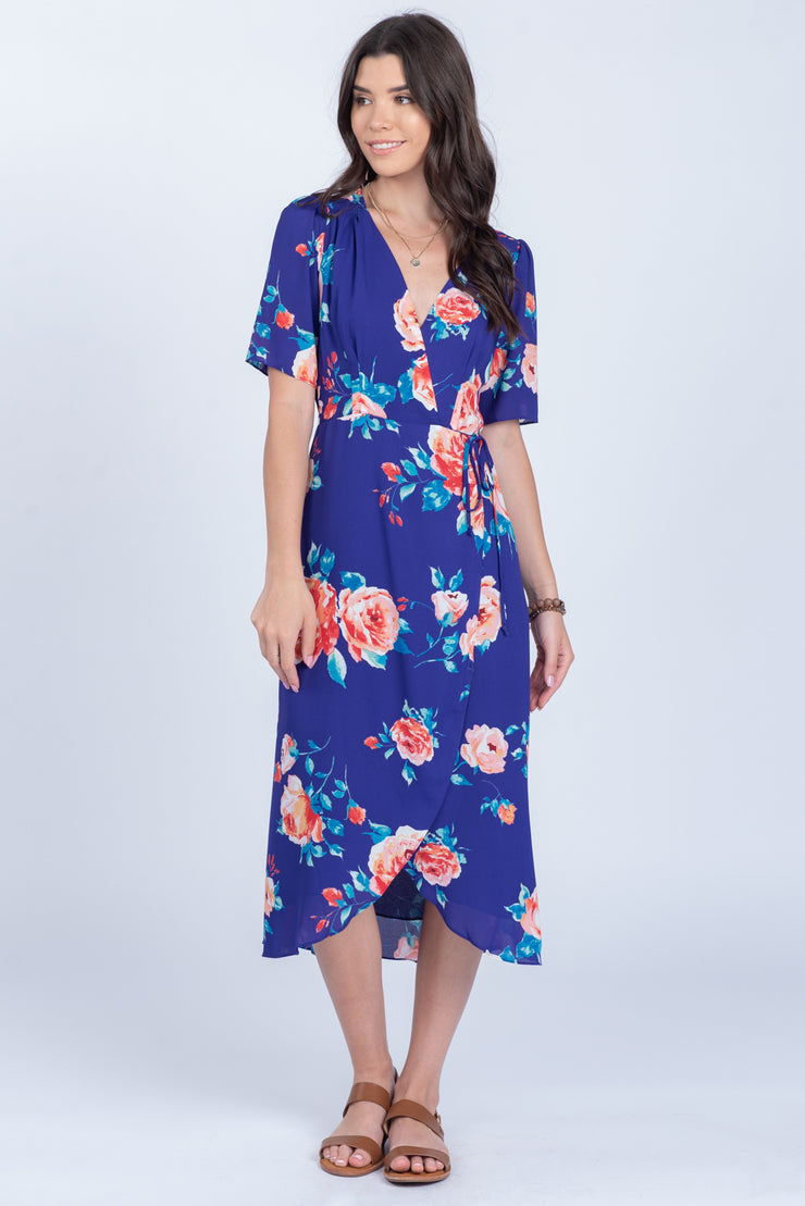 MODERN BEAUTY PLUM FLORAL WRAP DRESS