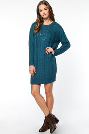 ALL ABOUT COZY CABLE KNIT SWEATER DRESS