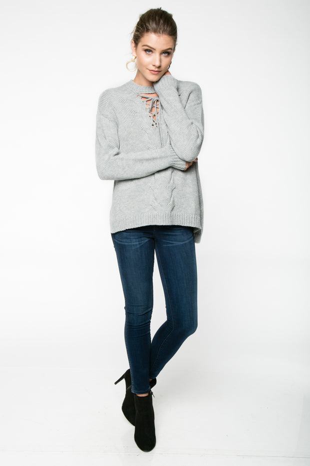 FULL ATTENTION LACE UP SWEATER