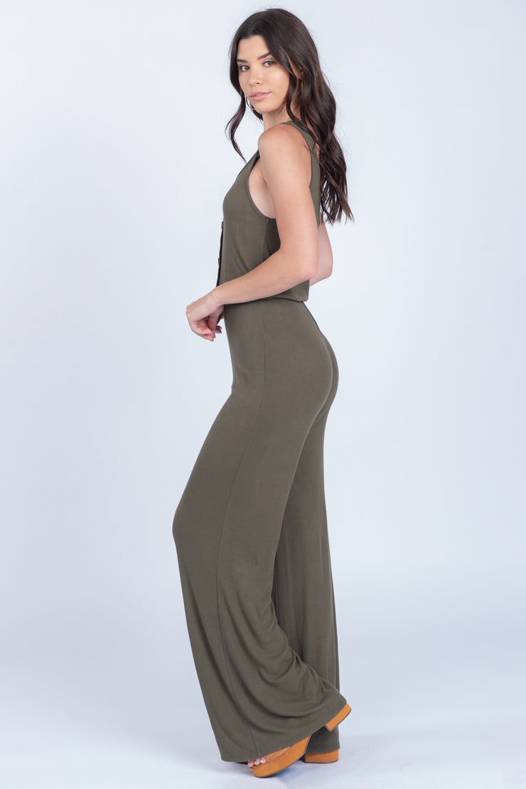 FEEL THE BREEZE OLIVE JUMPSUIT