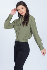 ALL OF OUR HEROES OLIVE CROPPED UTILITY JACKET