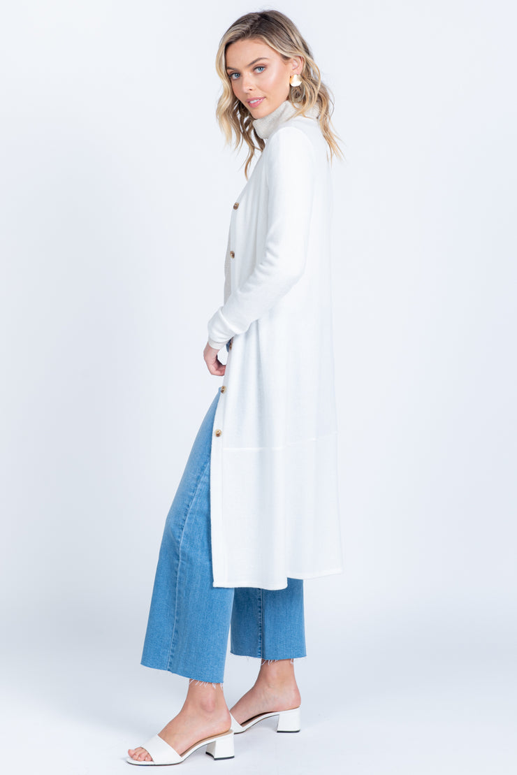 DUST IT OFF WHITE DUSTER CARDIGAN