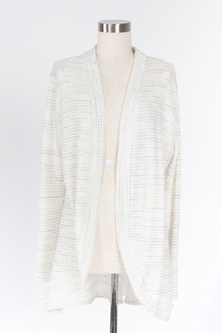 STAY SOFT TWO-TONED WAFFLE KNIT CARDIGAN