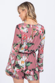 EVELYN MAUVE FLORAL BELL SLEEVE ROMPER