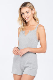 PRETTY PLEASED SLATE RIB KNIT ROMPER