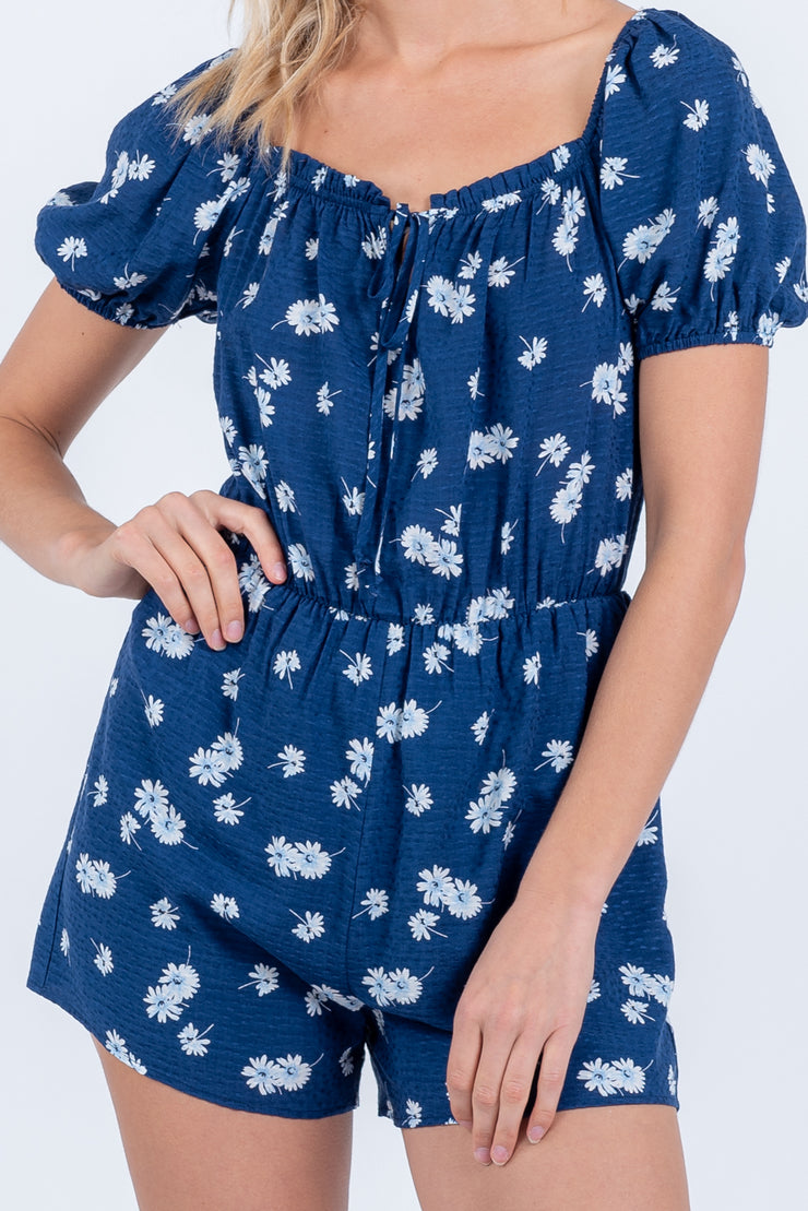 Blossom On Over Navy Romper