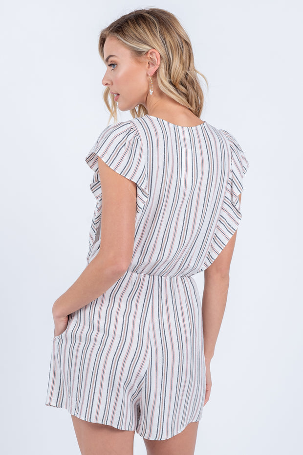 TAKING CHANCES BLACK CLAY STRIPED  ROMPER