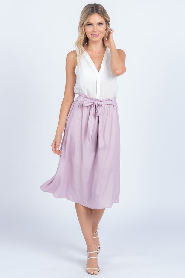 MEANT TO BE LAVENDER TIE MIDI SKIRT