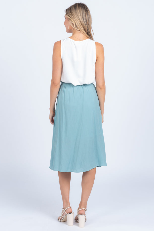 MEANT TO BE TEAL TIE MIDI SKIRT