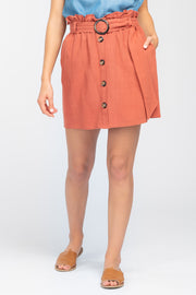 EVENING SUN CLAY BUTTON FRONT SKIRT