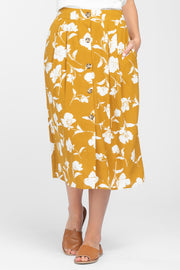 KEEP BLOOMING MUSTARD MIDI SKIRT