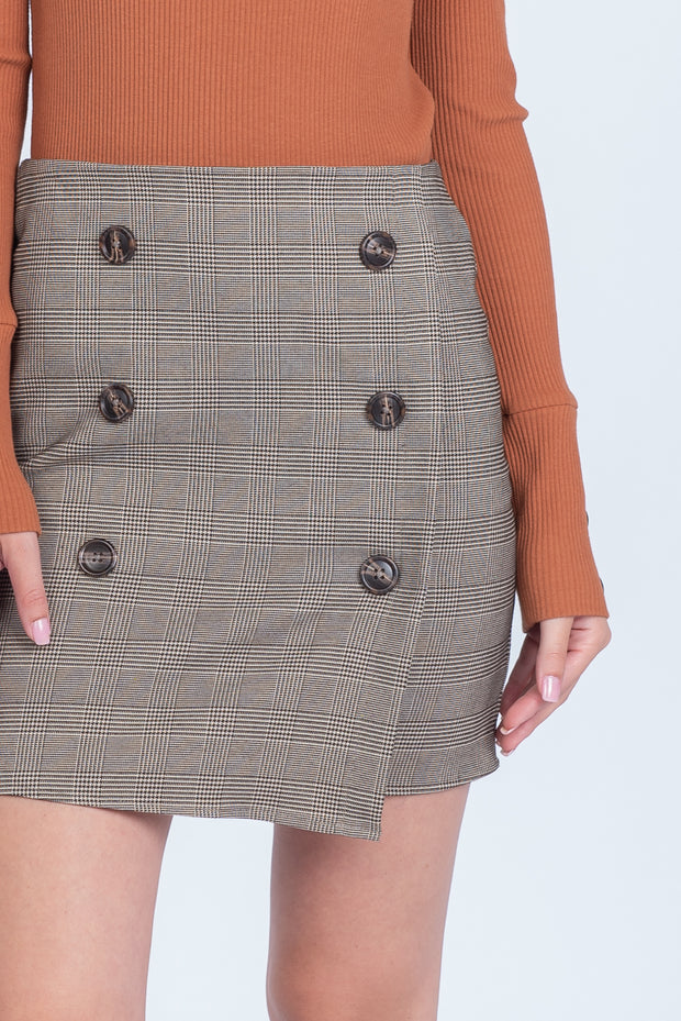 MAD FOR PLAID TAUPE AND BLACK MINI SKIRT