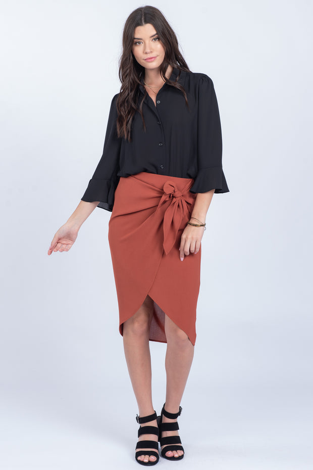 WANDERLUST BRICK SIDE TIE ASYMMETRICAL SKIRT