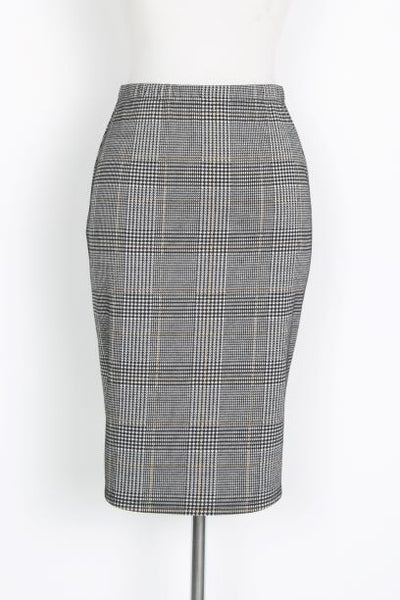 CHECK YOU LATER PLAID MIDI SKIRT