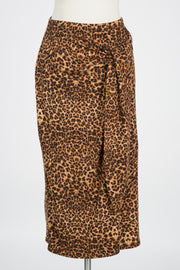 GET YOUR ATTENTION LEOPARD SIDE TIE MIDI SKIRT